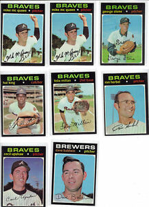 1971-Topps-Braves-Brewers-8-card-lot