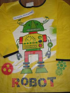 CAMICETTA-A-PATTA-PVC-GIALLO-ROBOT-3-4-ANNI-NUOVO