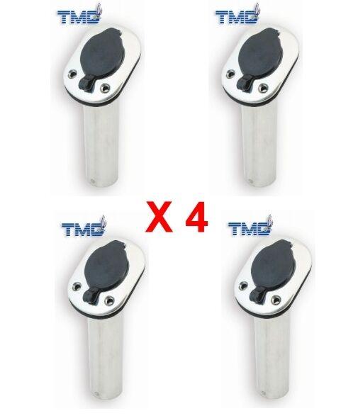 S/S Rod Holders x 4 - Flush Mount with PVC Cap