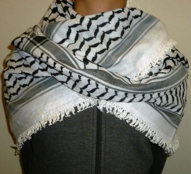 New Palestine Hatta Headscarf / Authentic Shemagh / Black & White Kuffiyeh