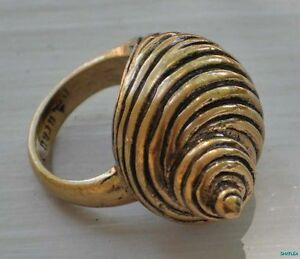 Lucky-Brand-Ocean-Shell-SeaShell-Beach-Statement-Ring-NWT-Sz-7-Gold-Tone