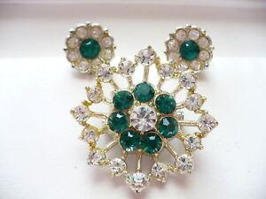 ESTATE-Green-Rhinestone-Flower-Pin-Brooch-Earrings-Wow