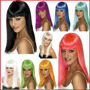 Ladies-Smifys-Glamourama-Black-Blonde-White-Neon-Wigs-Long-Straight-Wig-Fringe