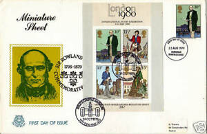 DUAL DATE 1979 ROWLAND HILL SCOTT FIRST DAY COVER DUAL CANCELLED