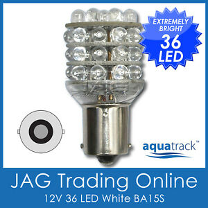 12V-36-LED-BA15S-1156-WHITE-GLOBE-Automotive-Car-Caravan-Boat-Trailer-Light-Bulb
