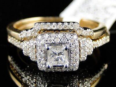 14K Womens Yellow Gold Diamond Princess Engagement Wedding Ring Band Bridal Set