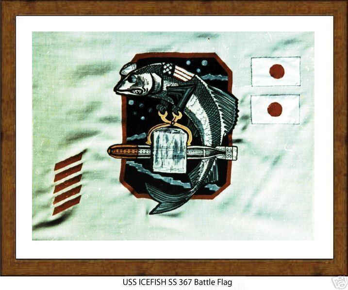 USS ICEFISH SS 367 --WW2 Submarine Battle Flag,  US Naval,  USN Navy