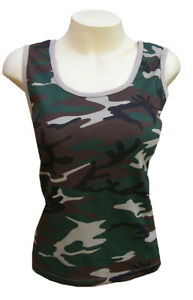 Ladies-Retro-Cammo-Combat-Vest-Army-T-Shirt-UK-8-12-New