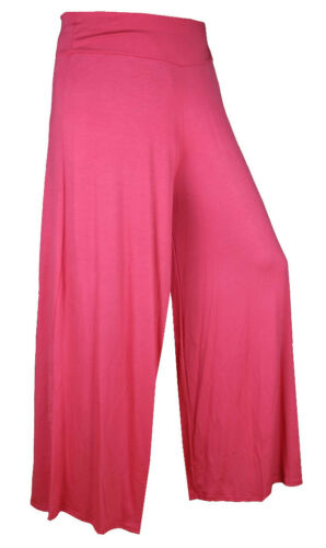 LADIES PALAZZO TROUSER WIDE LEG FLARE WOMENS PANTS 8-12