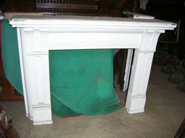 WOODEN Fireplace MANTEL, painted & CARVED (#F10)