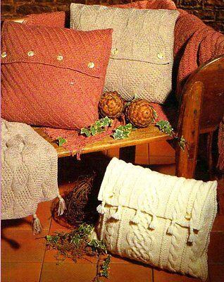 "Vintage Knitting Pattern 3 Aran Cushion (16"") & Throw Sets Woven/Cable/Diamond"
