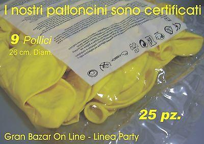 """PALLONCINI GIALLO 25 Pz 26 cm diam 9-10"""" PARTY FESTA ANIMAZIONE ALLESTIMENTO"""