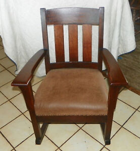Quartersawn-Oak-Mission-Rocker-Rocking-Chair-brown-suede-cloth-seat-R81