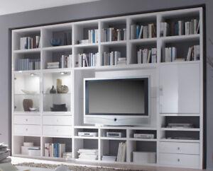 Wohnwand selber zusammenstellen  Bücherregal Wohnwand Toro Hochglanz weiß Maßanfertigung möglich   eBay