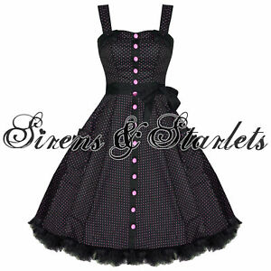 HELL-BUNNY-GERY-PINK-POLKA-DOT-RETRO-PINUP-PROM-DRESS