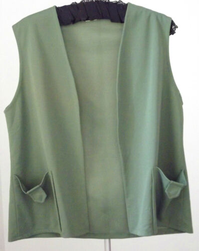 Ladies vintage 1970s waistcoat UK size 22 open front Good condition green