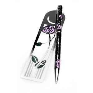 Sea-Gems-Gift-Boxed-Mackintosh-Rose-amp-Bud-Bookmark-amp-Pen-Set-0920