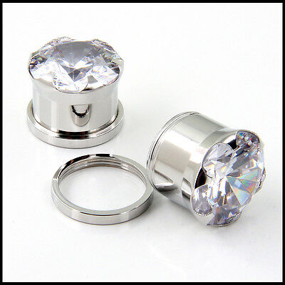 AP-703 Pair of Stainless Steel Screw on flesh tunnels EAR PLUGS  with large Gem