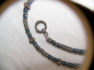 15.75 Choker Necklace, Silver & Blue Crystal Beads