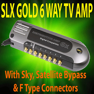 SLX GOLD 6 WAY AERIAL AMPLIFIER AND SIGNAL BOOSTER FOR DIGITAL FREEVIEW TV DAB