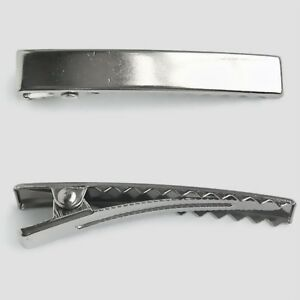 100 flat top narrow alligator metal pinch hair clips with for Small alligator clips for crafts