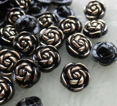 New Plastic button black rose planting gold back hole sewing DIY accessory F370