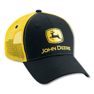 NEW-John-Deere-Black-Twill-Yellow-Mesh-Cap-JD-Hat-LP27684