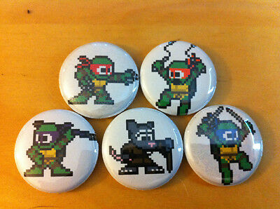 """Set of 5 TMNT 1"""" pins buttons 8 bit style TEENAGE MUTANT NINJA TURTLES mega man"""