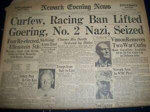 1945 MAY 9 NEWARK EVENING NEWS NEWSPAPER WWI HERMANN GOERING