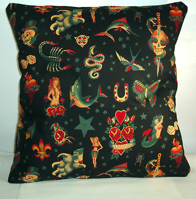 "NEW RETRO BIKER  TATTOO CUSHION COVER  16""X16"""