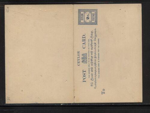 Ceylon nice postal reply card unused
