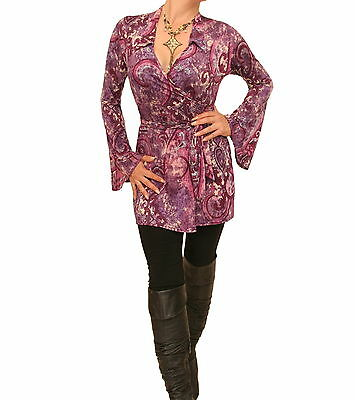 New Purple and Pink Bell Sleeve Wrap Top