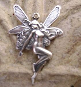 0133 Antiqued .925 Sterling Silver Brass Stamping Fairy Charm Sramping USA 2 Qty