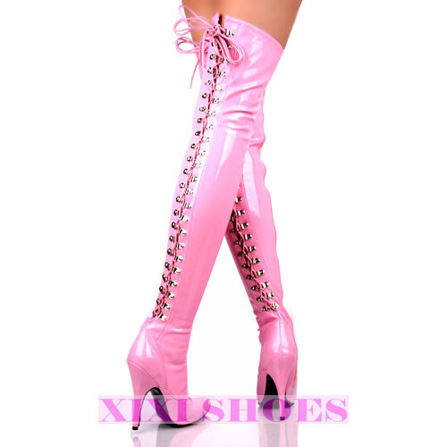 New Sexy High Heel Pointy Lace Thigh High Boots Pink
