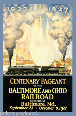 CENTENARY PAGEANT OF BALTIMORE AND OHIO RAILROAD TRAIN 1927 VINTAGE POSTER REPRO
