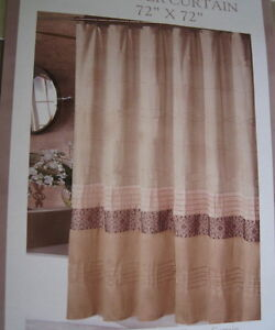 Victoria Classics Xena Taupe Browns Embroidered Fabric Shower Curtain New
