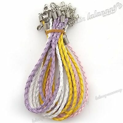 12x Mix Braid Leather Charms Cord Bracelet 20cm 130159