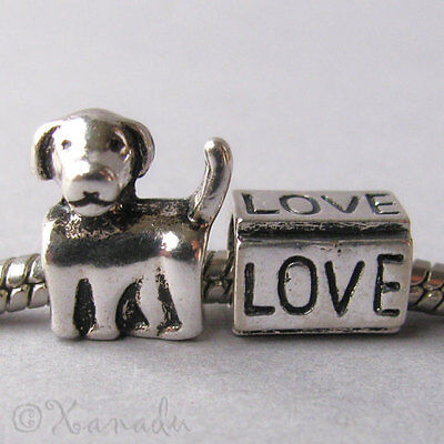 2PCs Puppy Love Dog Large Hole Beads For All European Brand Charm Bracelets