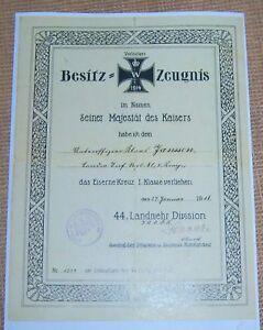 GERMAN-Officers-IRON-CROSS-1st-Class-Award-Certificate