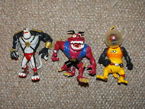 1994-Playmates-Earthworm-Jim-Lot-of-3-Figures-Peter-Puppy-Psycrow-amp-Bob