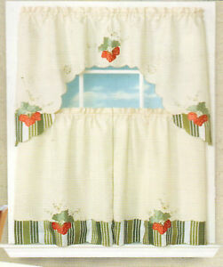new 3 pc beige kitchen curtain set various designs ebay