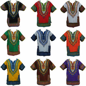 Poncho-Tribal-Dashiki-African-Mexican-Festival-Hippie-Hippy-Cotton-T-Shirt-Top