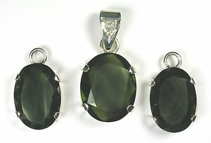 31-4-Ct-MOLDAVITE-TEKTITE-amp-DIAMOND-SPECTACULAR-UNIQUE-AAA-SET-BEST-ANYWHERE