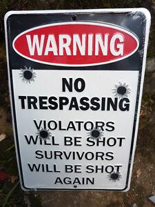 Warning-NO-TRESPASSING-VIOLATORS-SHOT-SURVIVORS-SHOT-AGAIN-SIGN-Chevrolet-Ford