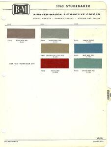 Image Is Loading Vintage 1963 Studebaker Color Chip Paint Sample Brochure