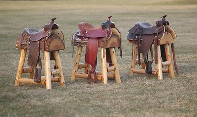 (3) Authentic Western Horse Saddle Bar Stools Barstools Decor Counter Rustic Log