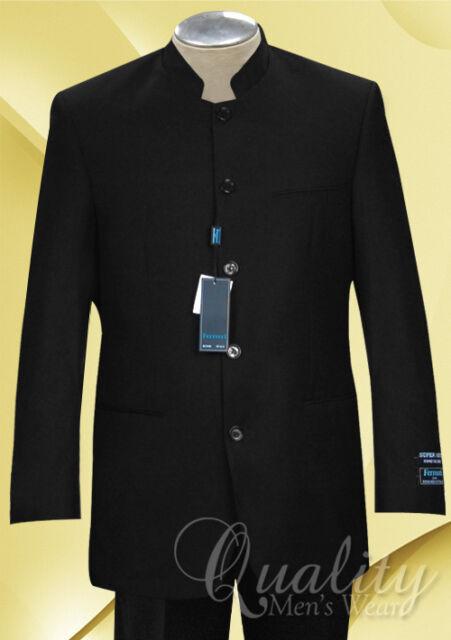 Black Nehru Collar 5 Button Suit 44R 38 Slacks Ferrecci Uomo Super 150's $260