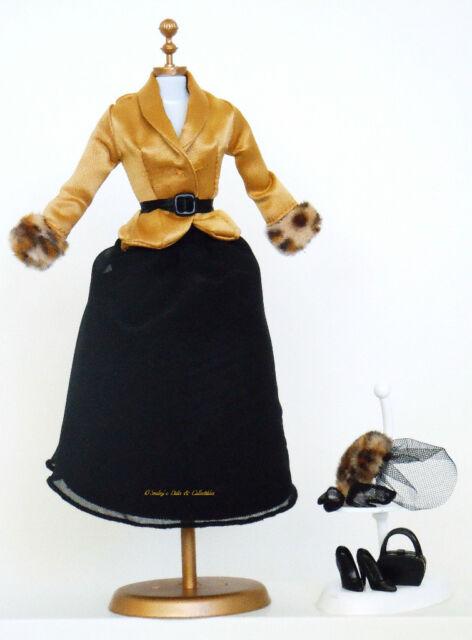 1940s GOLD CHARMEUSE & BLACK CHIFFON DAY DRESS Silkstone Barbie Fashion_NEW