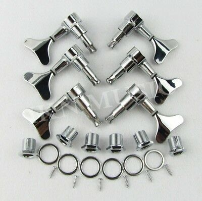 Set of 6pcs Electric Bass Tuning Pegs 3L 3R Machine Heads Closed Tuners Silver