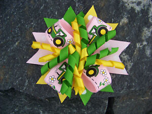 Little Green Tractor Pinwheel Hair Bow 4 Green Yellow